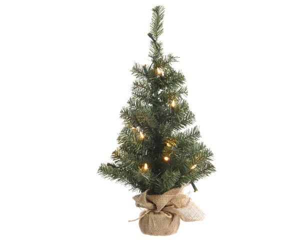 Mini Kunstkerstboom jute zak 60cm+ licht - Dagros-Brunsting Groothande