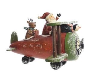 Kerst Vliegtuig Poly Kerstman 23x26x18cm Dagros Brunsting Groothandel
